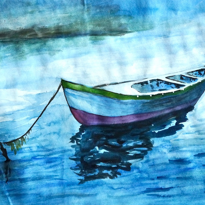 Boat Water Colour Painting
