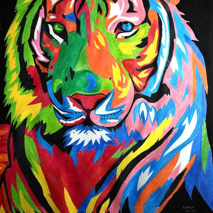 Tiger Portrait Mix Media
