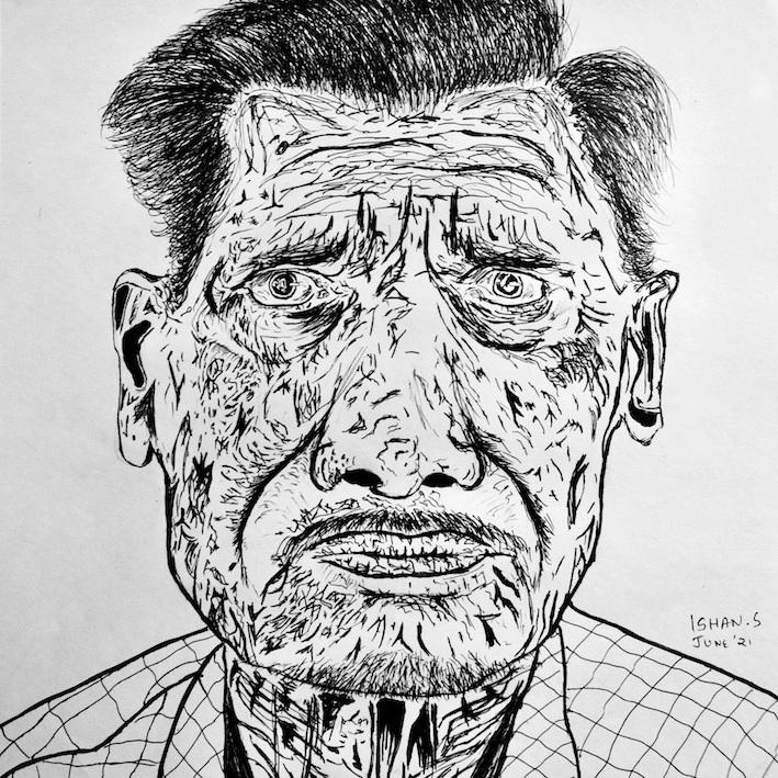 Man Pen Portrait Pen Sketch