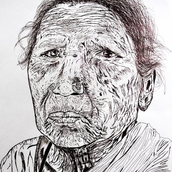 Melancholic Woman Portrait Pen Sketch