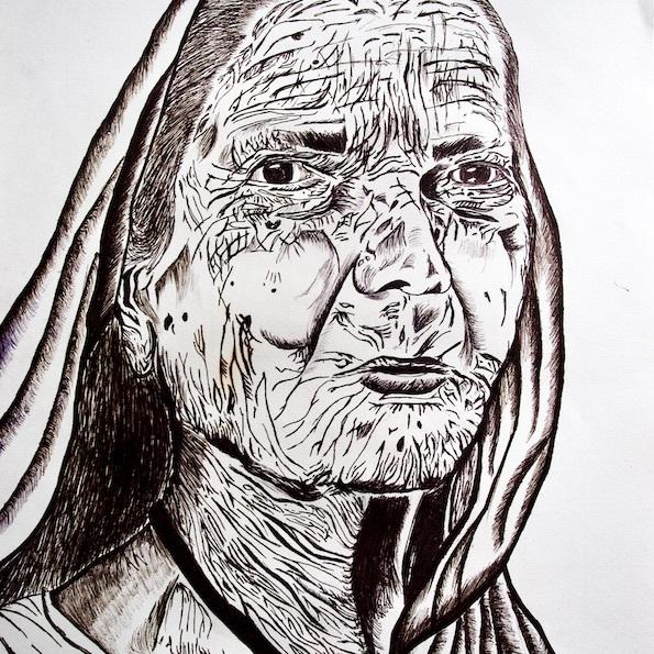Old Woman Pen Portrait Pen Sketch