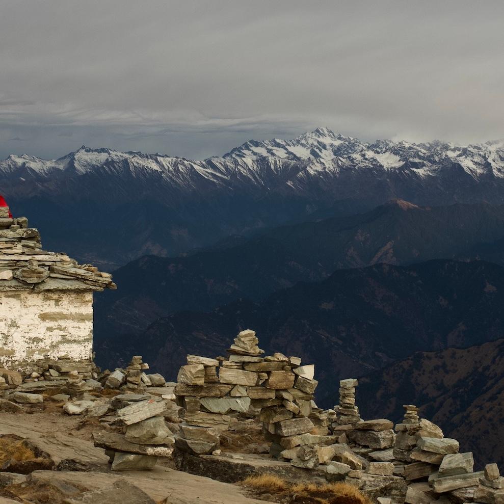 Temple on Mt. Chandrashila facing Kumaun Himalayas