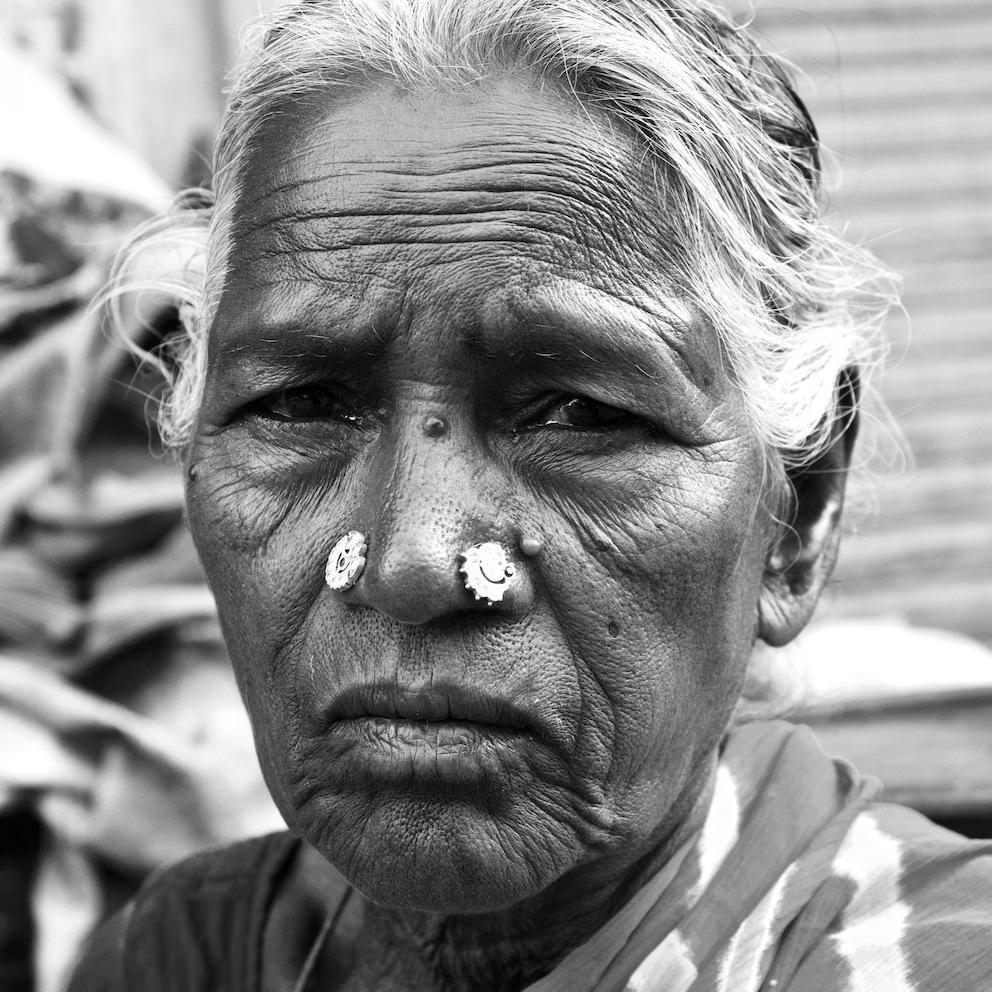 Sad old woman.