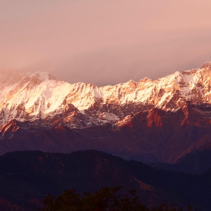 Kumaun Himalayas from Deorital Lake, Kedarnath Wildlife Sanctuary, UIttarakhand, India.